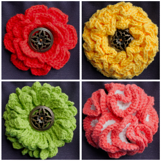 Interchangeable Crochet Flower Pattern : Big Button Interchangeable Flowers ? Set 2